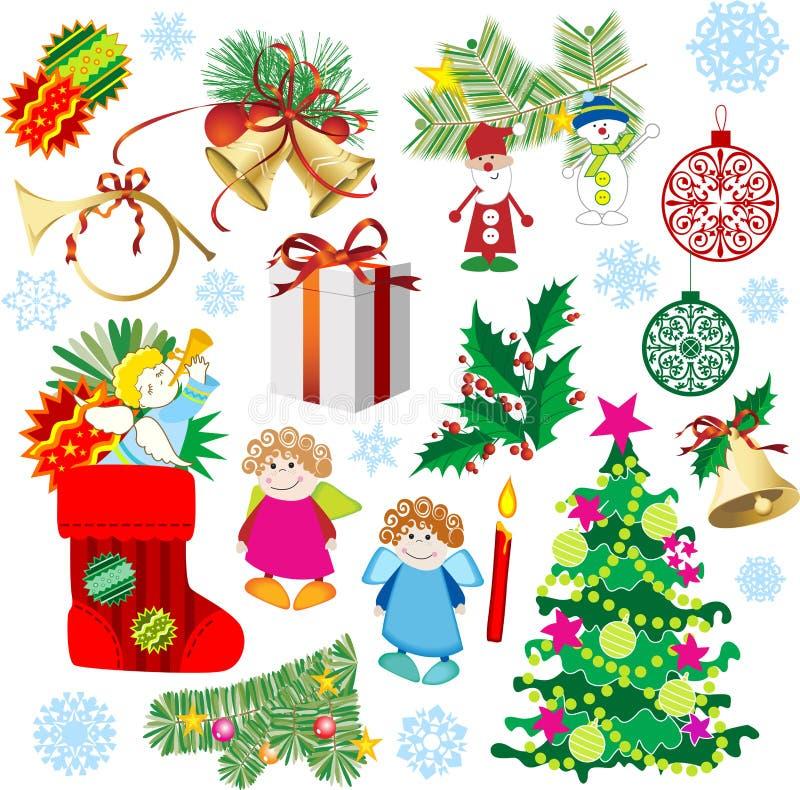 dekoracje świąteczne ustawienia ilustracja wektor