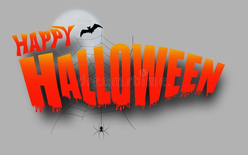Dekoracje Halloween Szczęśliwe Halloween z nietoperzem i księżycem, pajęczyna Wektor ilustracja wektor