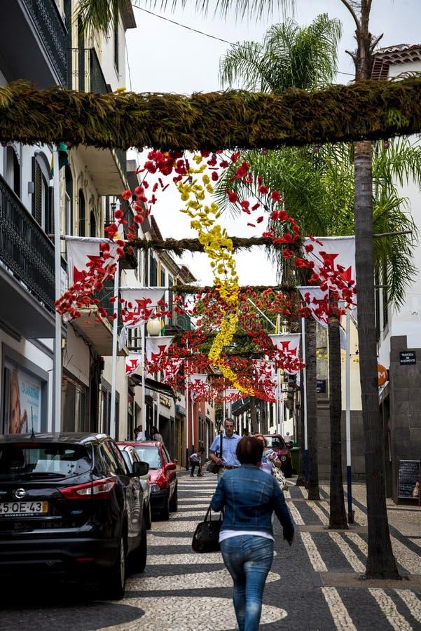 Dekoracje w Głównych zakupy ulicach w Funchal maderze Portugalia obraz royalty free