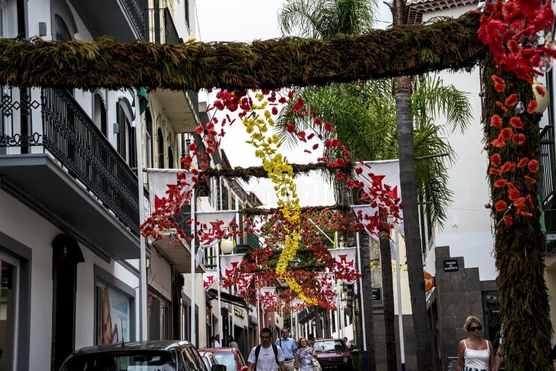 Dekoracje w Głównych zakupy ulicach w Funchal maderze Portugalia zdjęcia royalty free