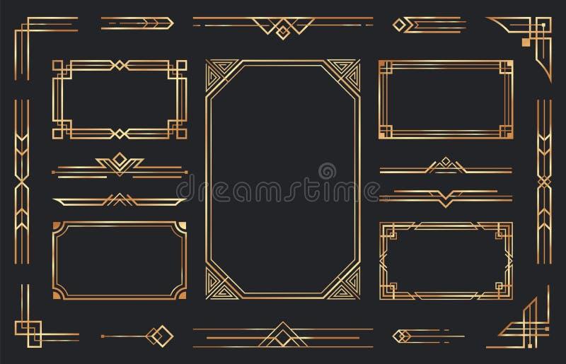 Dekoracje Złotej Sztuki Arabijska, antyczna, złota krawędź ozdobna, retro geometryczna rama ozdobna i ozdobna złota royalty ilustracja