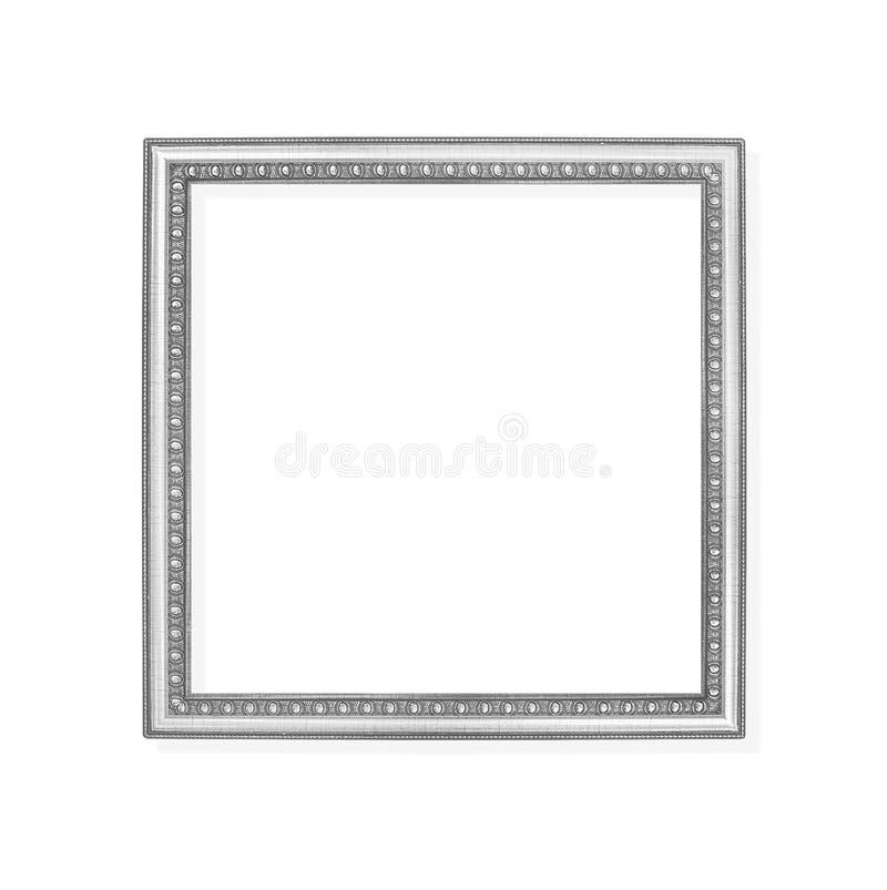 Dekoracji szarość lub srebro metalu obrazka rama z cyzelowanie wzorami odizolowywającymi na białym tle z ścinek ścieżką zdjęcia royalty free