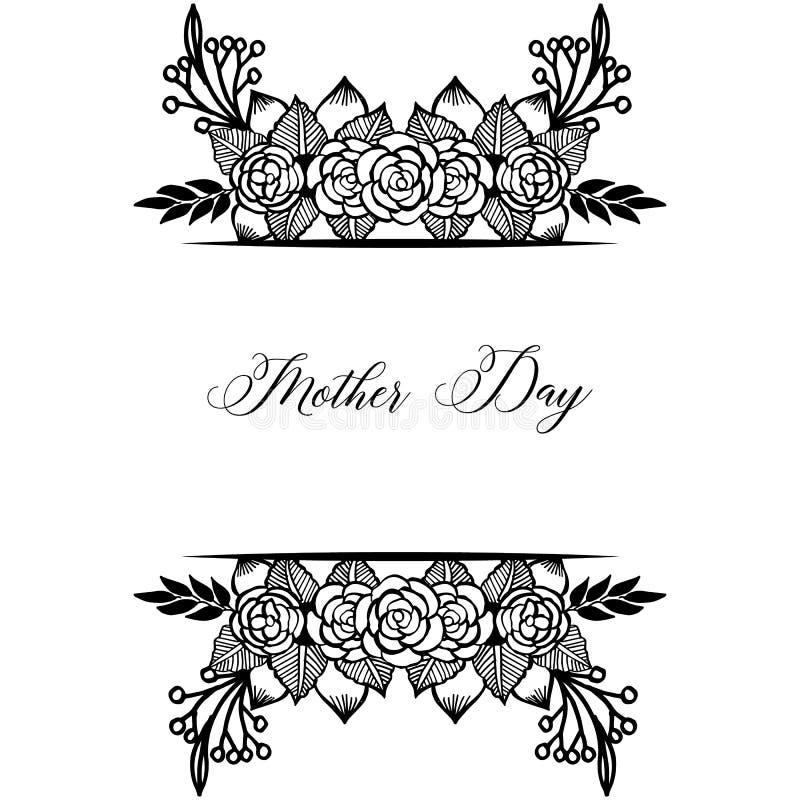 Dekoracji zaproszenia karta, świętowanie macierzysty dzień z projekt elegancką i piękną wianek ramą, wektor royalty ilustracja