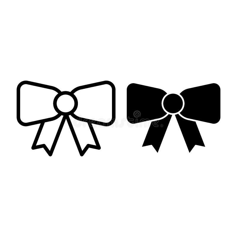 Dekoracyjna łęk linia i glif ikona Tasiemkowego łęku wektorowa ilustracja odizolowywająca na bielu Świąteczny łęku konturu stylu  royalty ilustracja