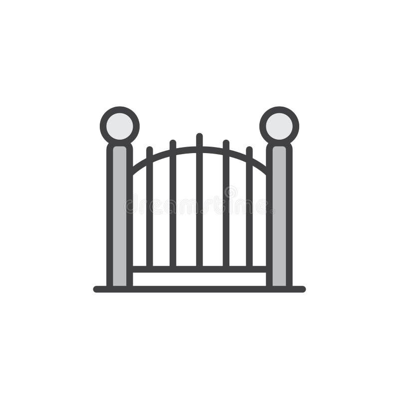 Dekoracyjna brama wypełniająca kontur ikona royalty ilustracja