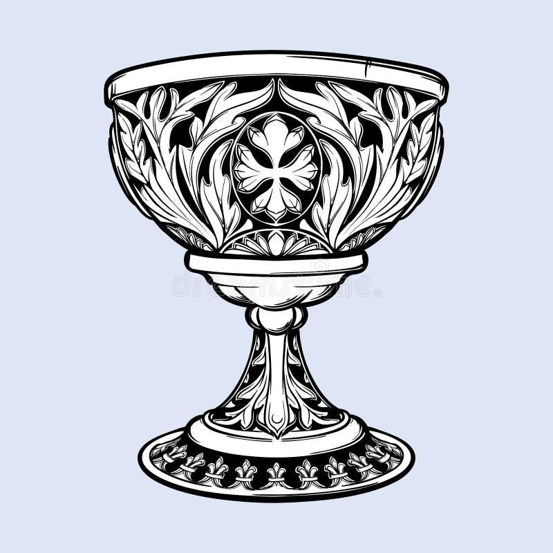 Dekoracyjna czara Średniowieczna gothic stylowa pojęcie sztuka elementy projektu podobieństwo ilustracyjny wektora Czerni nd biał royalty ilustracja