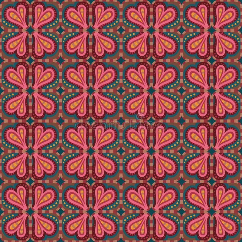 Dekoracyjna etniczna abstrakcjonistyczna miłość, serce, kwiatu wzór. ilustracji