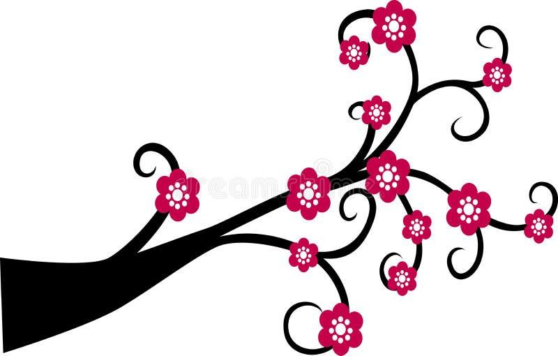 Dekoracyjna Gałęziasta Drzewna sylwetka Z Czerwonym kwiatem royalty ilustracja