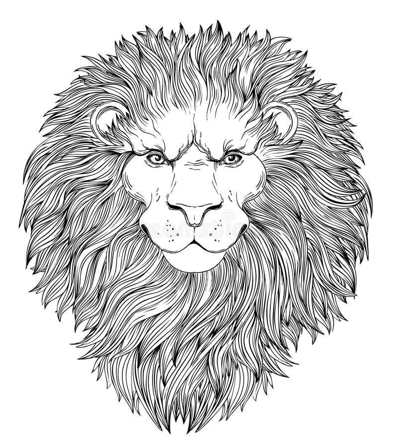 Dekoracyjna ilustracja heraldyczna lew głowa z królewską koroną a royalty ilustracja