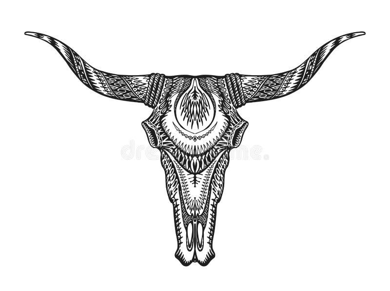 Dekoracyjna Indiańska byk czaszka Ręka rysująca wektorowa ilustracja ilustracji