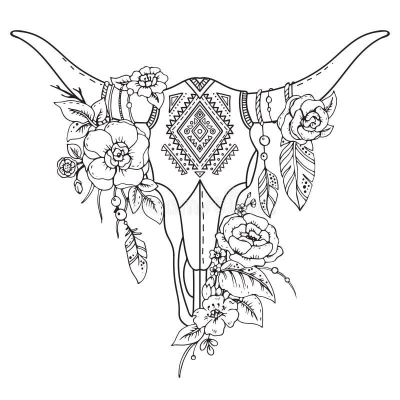 Dekoracyjna Indiańska byk czaszka z etnicznym ornamentem, kwiatami i le, ilustracji