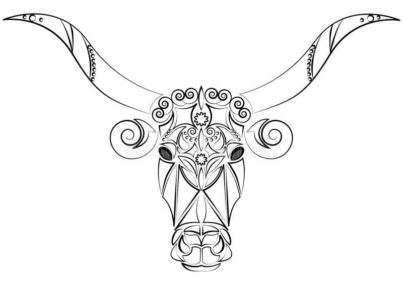 Dekoracyjna Indiańska byk głowa Talizman, zwierzęcy tatuaż duży megafony Drukujący na odziewa, tkaniny Projekta element, emblemat royalty ilustracja