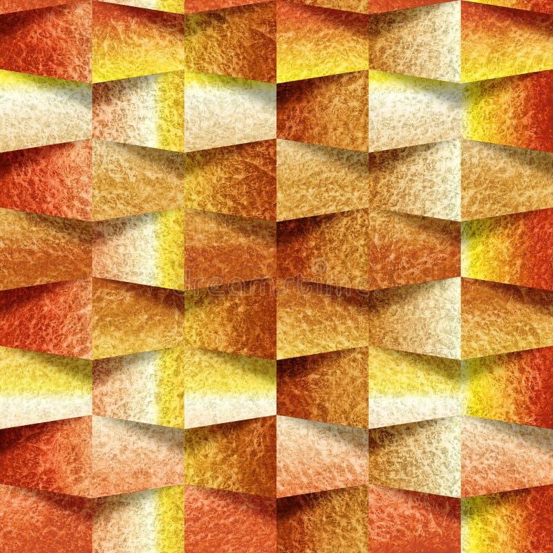Dekoracyjna kamienna ściana, Pomarańczowego koloru żółtego ceglane płytki, Wewnętrzna tapeta, bezszwowy tło ilustracji