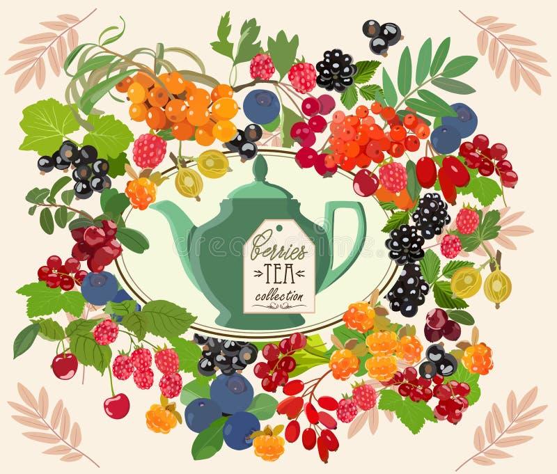 Dekoracyjna karta z herbat jagodami i setem również zwrócić corel ilustracji wektora ilustracja wektor