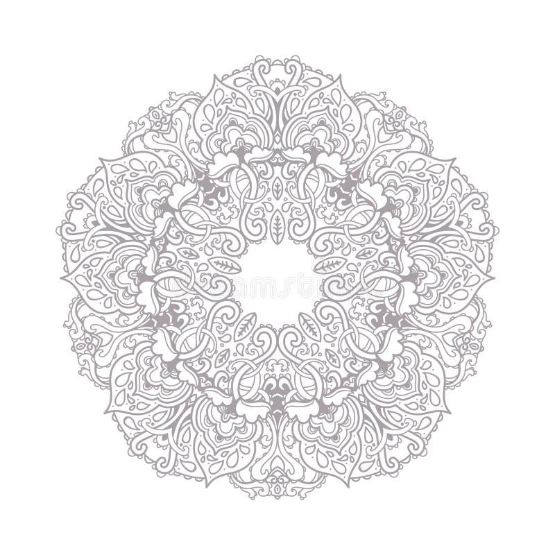 Dekoracyjna kreskowej sztuki rama dla projekta szablonu Elegancki wektorowy element, miejsce tekst Siwieje kontur kwiecistą grani ilustracja wektor