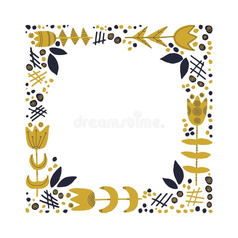 Dekoracyjna kwadrat rama z kwiatami i liśćmi ilustracji