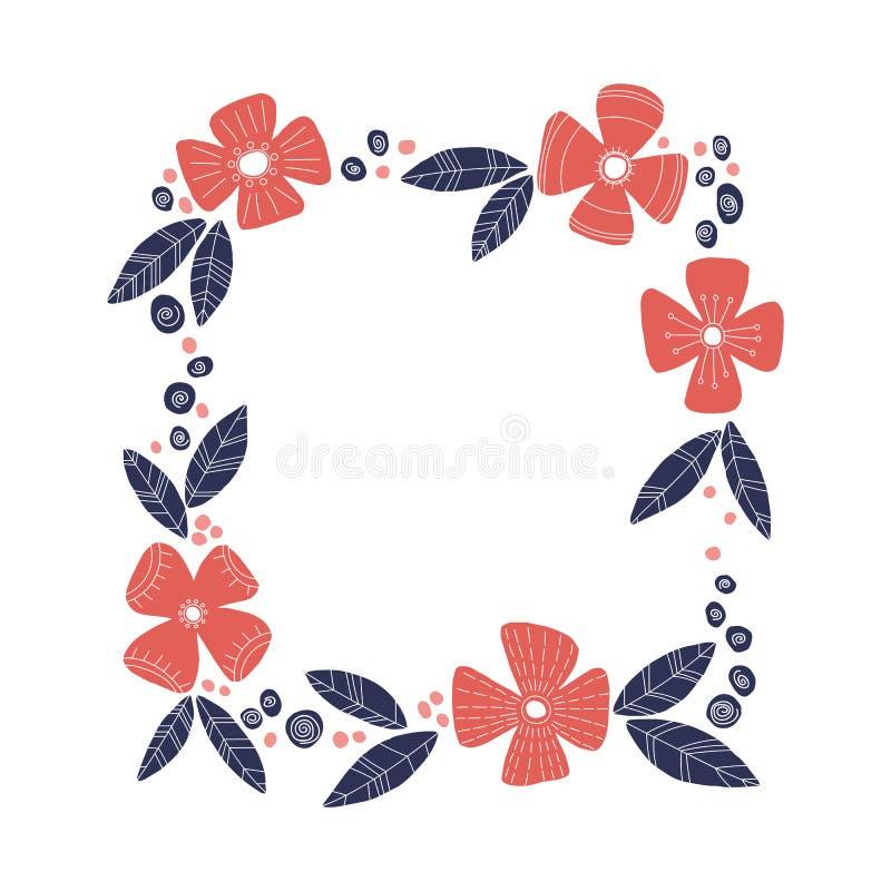 Dekoracyjna kwadrat rama z kwiatami i liśćmi ilustracja wektor
