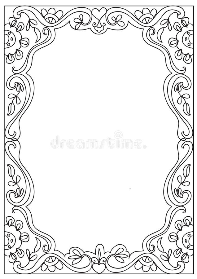 Dekoracyjna kwadrata a4 formata kolorystyki strony rama odizolowywająca na bielu ilustracja wektor