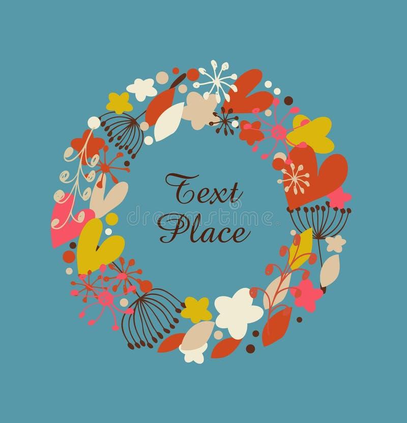 Dekoracyjna kwiecista round girlanda Doodle wianek z sercami, kwiatami i płatkami śniegu, Projekta wakacje elementy royalty ilustracja