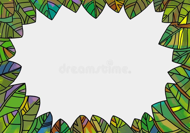 Dekoracyjna liść rama dla wiosny i jesieni projektów ilustracja wektor