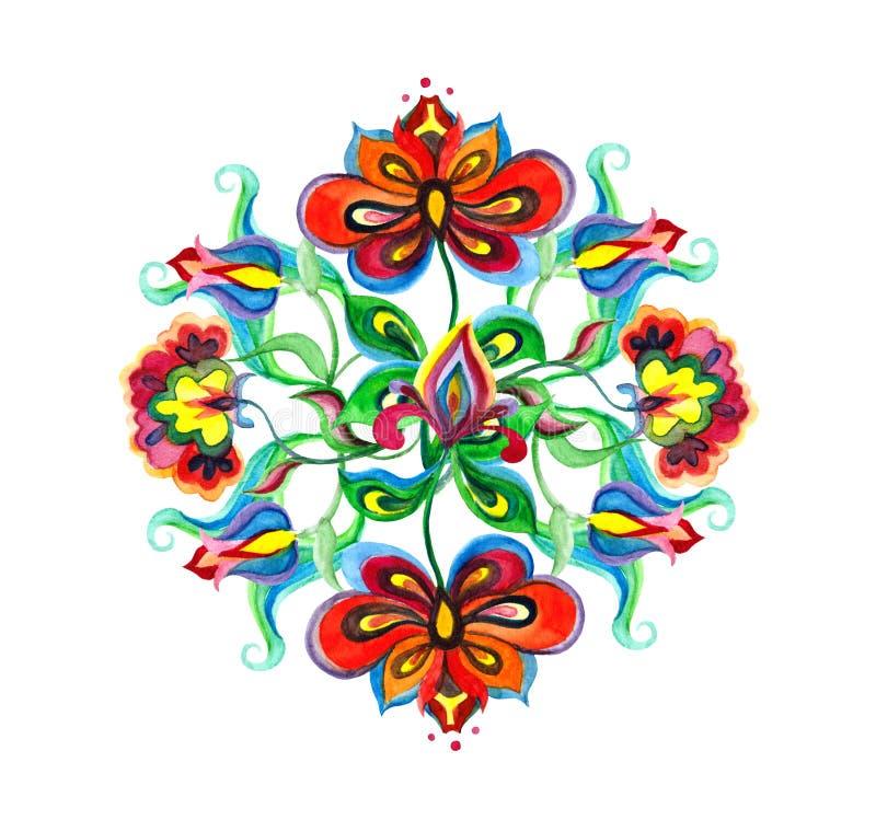 Dekoracyjna ludowa sztuka Europa Wschodnia - kwiecisty skład z rodzimymi ozdobnymi kwiatami Akwareli broderii motyw ilustracji