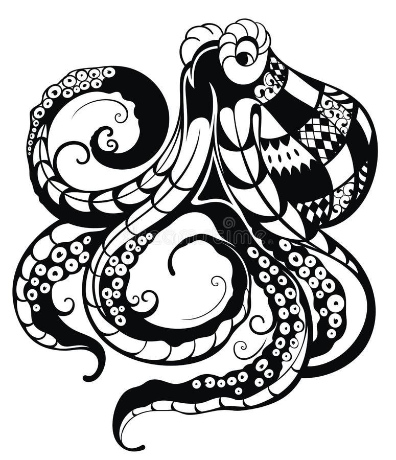 dekoracyjna ośmiornica ilustracja wektor