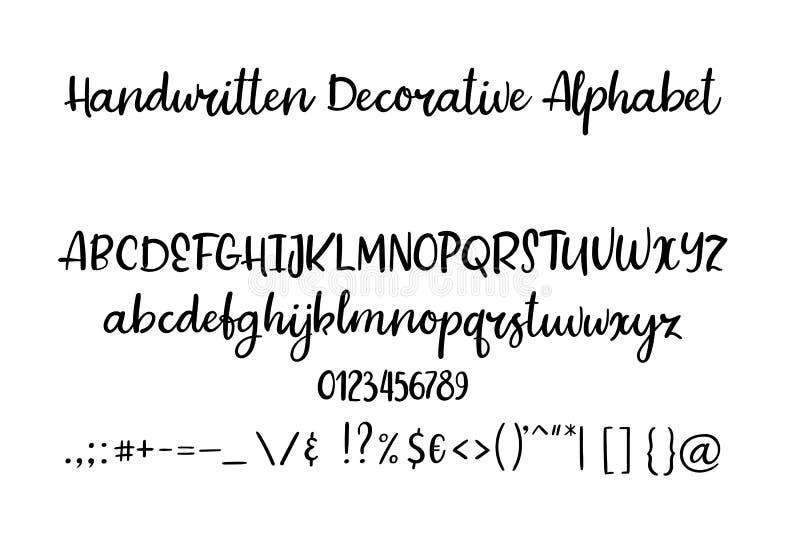 Dekoracyjna ręka rysujący abecadło Ręcznie pisany szczotkarska chrzcielnica Nowożytny kaligrafii abc ilustracji