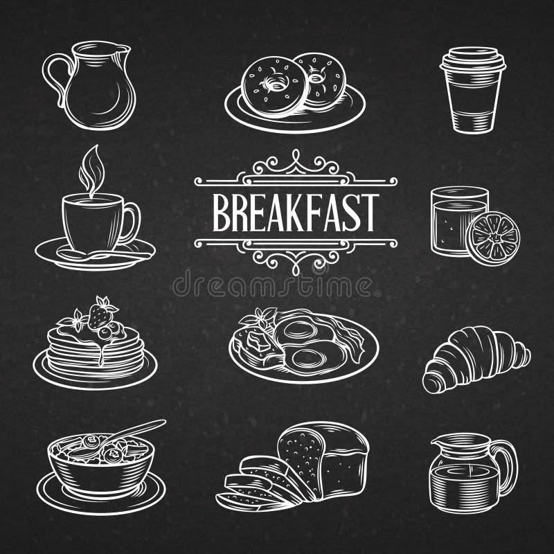 Dekoracyjna ręka rysujący ikon śniadaniowi foods ilustracji