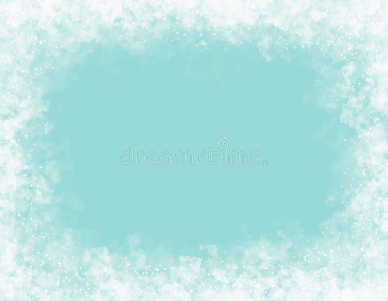 Dekoracyjna rama biel chmurnieje na lekkim turkusowym tle ilustracja wektor