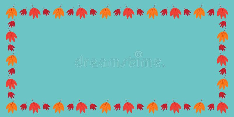 Dekoracyjna rama kolorowi jesień liście Prostokątny skład A4 ilustracja wektor