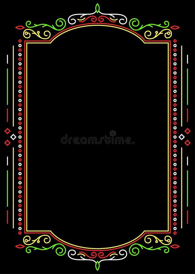 Dekoracyjna rama na tle w meksykańskich kolorach ilustracji