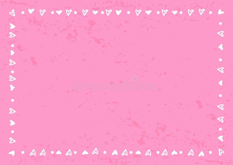 Dekoracyjna rama serca i kropki w bielu na różowym gradiencie textured tło ilustracja wektor