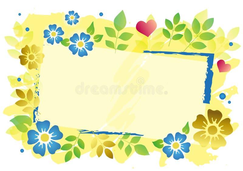 Dekoracyjna rama z błękitnymi i złotymi kwiatami, zieleń opuszcza kropki i menchii serca na żółtym tle ilustracji