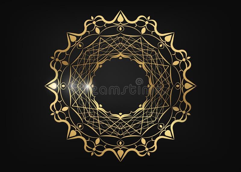 Dekoracyjna round złota rama dla projekta z laseru rżniętym ornamentem Luksusowy złoty okręgu mandala Szablon dla drukowych poczt ilustracji