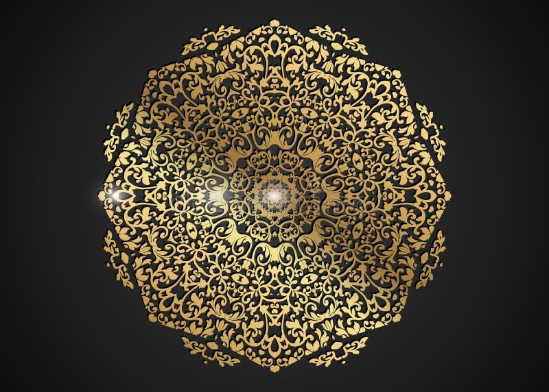 Dekoracyjna round złota rama dla projekta z laseru rżniętym ornamentem Luksusowy złoty okręgu mandala Szablon dla drukowych poczt royalty ilustracja
