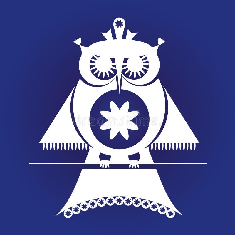 Dekoracyjna sowa siedzi na gałąź, piktogram, wektorowa ilustracja, biała na zmroku - błękitny tło royalty ilustracja