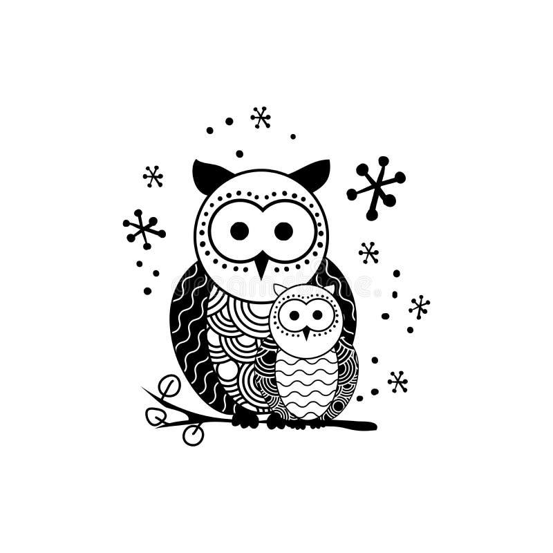 Dekoracyjna sowy sylwetki wektoru ilustracja ilustracja wektor
