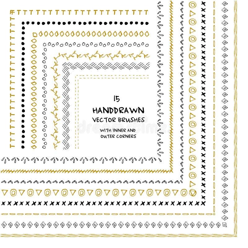 Dekoracyjna wektorowa ręka rysujący wzorów muśnięcia royalty ilustracja