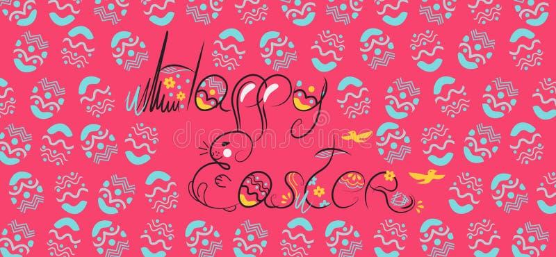 Dekoracyjna Wielkanocna ręka rysujący składu czerń na białym tle Śmieszny doodle od królika, jajka z kwiatami, liście wit royalty ilustracja