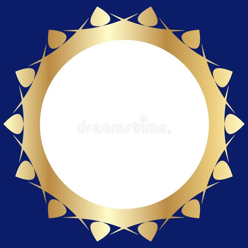 Dekoracyjna złota rama z abstrakcjonistycznym kwiecistym projektem na zmroku - błękitny tło Round deseniowy skład ilustracja wektor