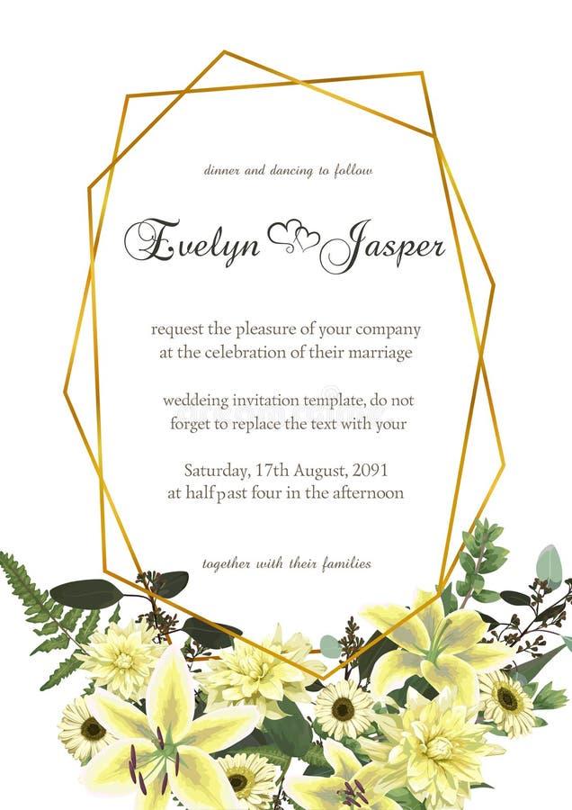 Dekoracyjna złota geometryczna rama z eukaliptusem, paprocią i boxwood, rozgałęzia się Dla ślubnych zaproszeń, winiety, pocztówki ilustracja wektor
