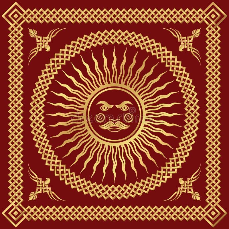 Dekoracyjna złoto rama, Slawistyczny ornament ilustracji