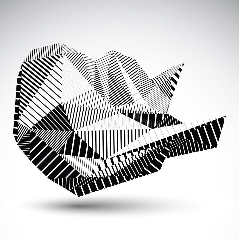 Dekoracyjna zniekształcająca niezwykła eps8 postać z równoległym czarnym Lin ilustracji