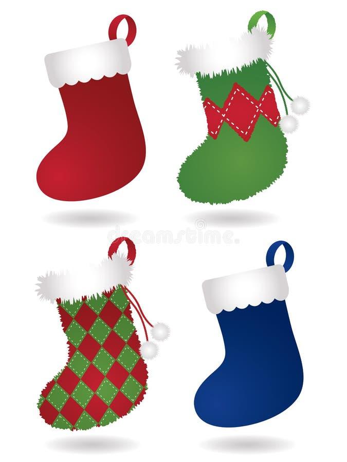 dekoracyjne Boże Narodzenie pończochy ilustracja wektor