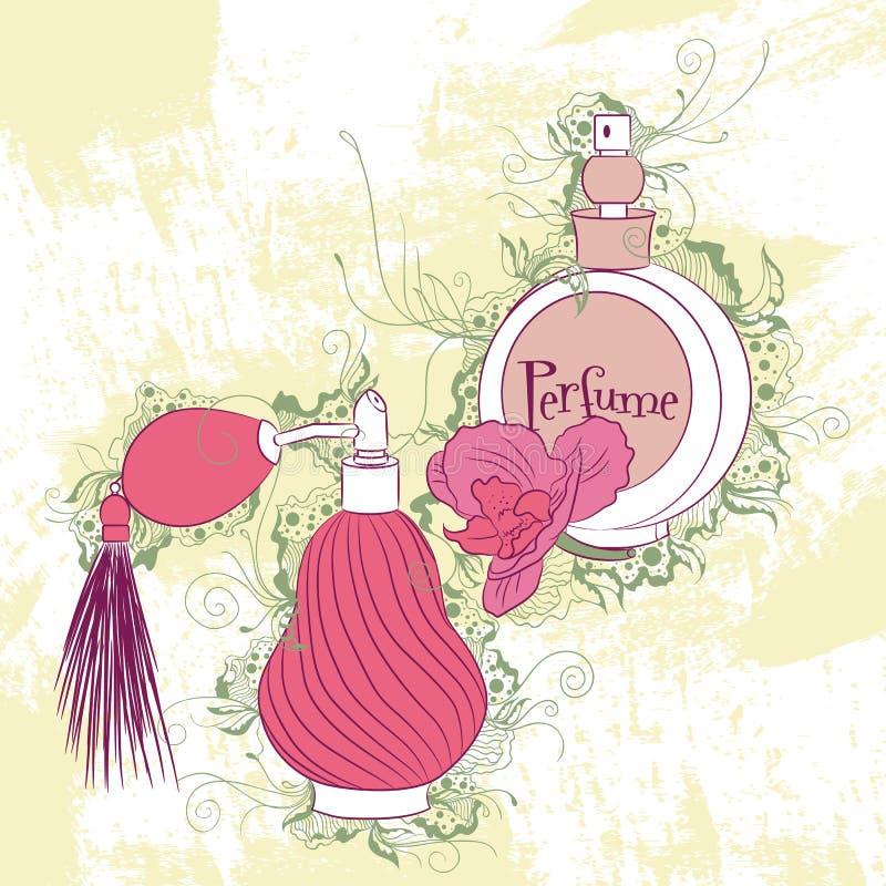 Dekoracyjne eleganckie ilustracyjne pachnidło butelki ilustracja wektor