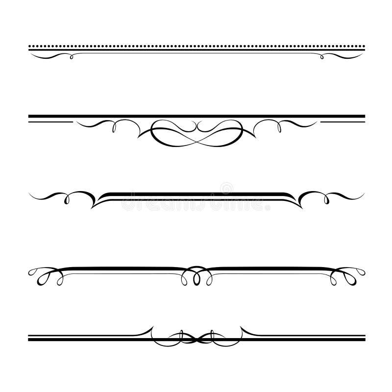 Dekoracyjne elementów, granicy i strony reguły, ilustracja wektor