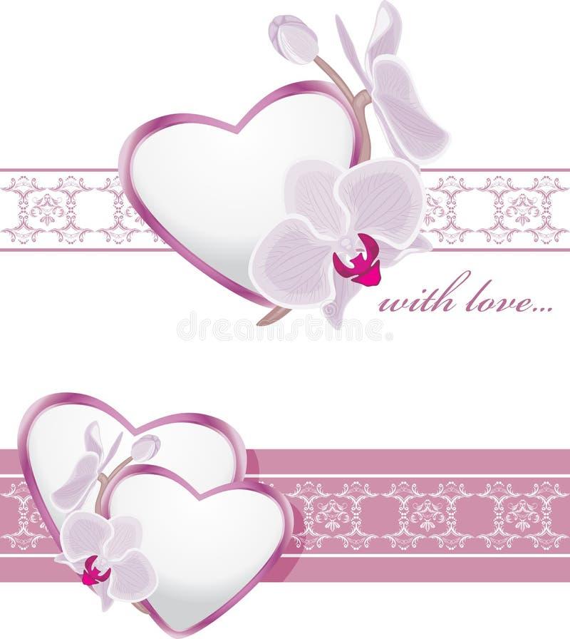 Dekoracyjne granicy z sercami i kwitnącymi orchideami royalty ilustracja