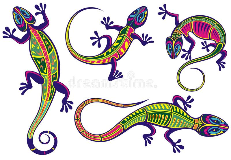 Dekoracyjne jaszczurek ikony ustawiać ilustracja wektor