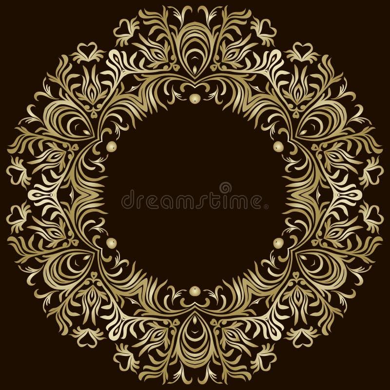 Dekoracyjne kreskowej sztuki ramy dla projekta szablonu Elegancki element dla projekta w Wschodnim stylu, miejsce dla teksta Złot ilustracja wektor