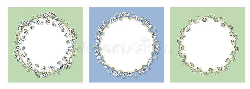 Dekoracyjne kwieciste ramy ustawiają z zielonymi liśćmi i gałąź Kreskówka ręka rysujący elementy dla stron internetowych, ślubni  ilustracji